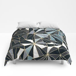 Stylish Art Deco Geometric Pattern - Black, blue, Gold #abstract #pattern Comforters