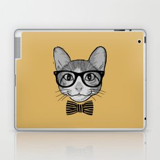 Cat Hipster with Stripes Bow Tie Laptop & iPad Skin