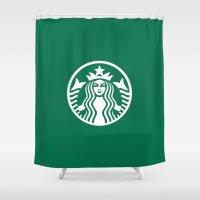 starbucks Shower Curtains featuring Starbucks by nZ.Design