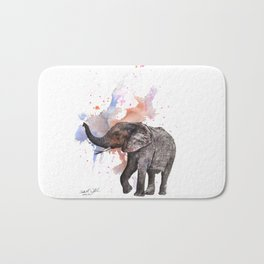 Dancing Elephant Painting Bath Mat