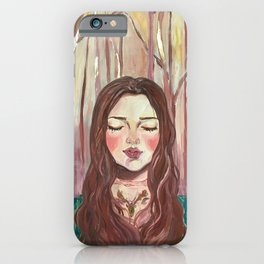 girl in the forest autumn leaves gold iPhone Case