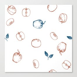 Blue & Blush assorted apples Canvas Print