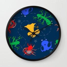 Aliens in Space - Blue Wall Clock