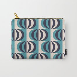 Mid century black & white striped ovals blue pattern on products Carry-All Pouch