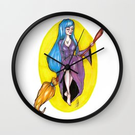 The blue haired witch Wall Clock