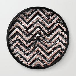 Black and White Marble and Rose Gold Chevron Zigzag Wall Clock