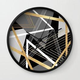 Original Gray and Gold Abstract Geometric Wall Clock