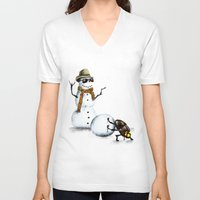 snowman V-neck T-shirts featuring Snowman by Anna Shell