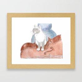 Cat on a Cello Framed Art Print