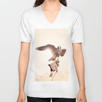 falcon V-neck T-shirts featuring Falcon by Anton Watts