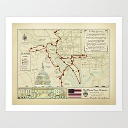 Vintage Inspired Marathon Course Map (2018 Marine Corps) 26.2 Art Print
