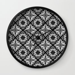 Blue and White ceramic tiles pattern Wall Clock