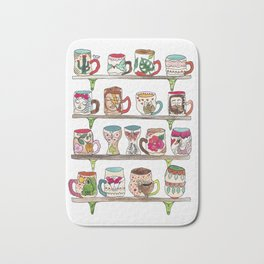 mugs on a shelf Bath Mat