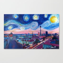 Starry Night in Berlin - Van Gogh Inspirations in Germany with Skyline Canvas Print
