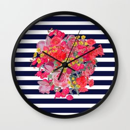 Vintage Floral Burst Print with Navy Stripes Wall Clock
