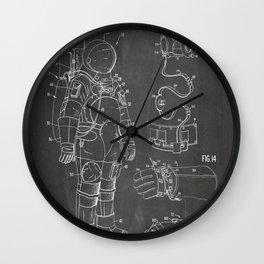 Nasa Apollo Spacesuite Patent - Nasa Astronaut Art - Black Chalkboard Wall Clock