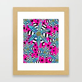 Pinwheel Flowers on Hot Pink Framed Art Print