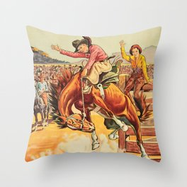 Vintage Western Rodeo Cowboy On Bucking Horse Throw Pillow