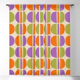 Mid Century Modern Geometric Pattern 151 Beige Orange Olive and Purple Blackout Curtain