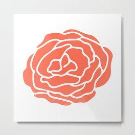Rose Deep Coral on White Metal Print