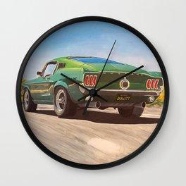Bullitt Mustang painting Wall Clock
