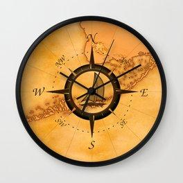 Sailboat And Compass Rose Wall Clock