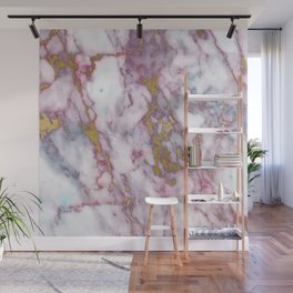 Grungy pink and gold faux marble Wall Mural