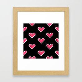 Pixel Hearts Pattern Framed Art Print