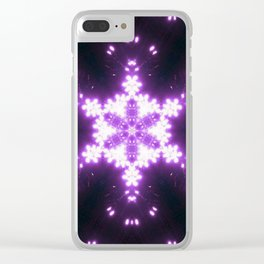 Burning Violet Snowflake Clear iPhone Case