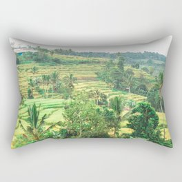 Indonesian Rice Terraces | Nature Landscape Photography of Green Rice Fields in Bali Indonesia Rectangular Pillow