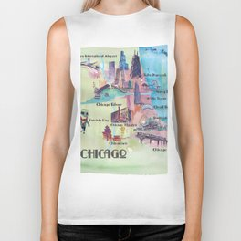 Chicago Favorite Map with touristic Top Ten Highlights in Colorful Retro Style Biker Tank