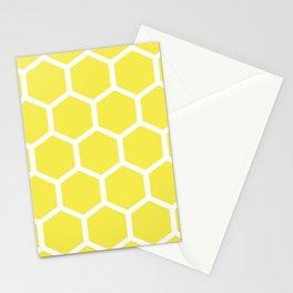 Honeycomb pattern - lemon yellow Stationery Cards
