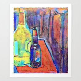Bottles on Books Art Print