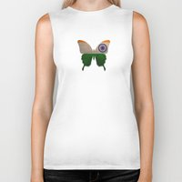 india Biker Tanks featuring india butterfly by Steffi Louis