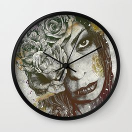 Of Suffering: Autumn (dark lady portrait with roses) Wall Clock