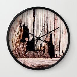 Eroded And Weathered Wooden Planks, Cracks And Chips Wall Clock