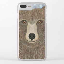 brown bear woodland animal portrait Clear iPhone Case