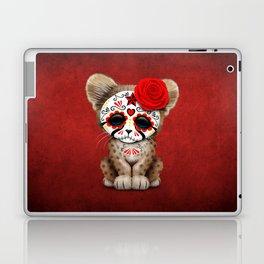 Red Day of the Dead Sugar Skull Cheetah Cub Laptop & iPad Skin