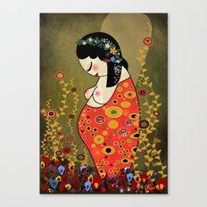 Kokeshi Hope of Klimt Canvas Print