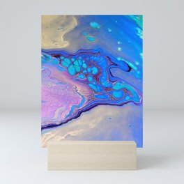 Slow Down Purple - Ultra Violet and Blue Fluid Pour Painting Abstract Mini Art Print