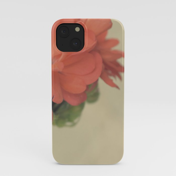 Vintage botanical pelargonium coral pink flower iPhone Case