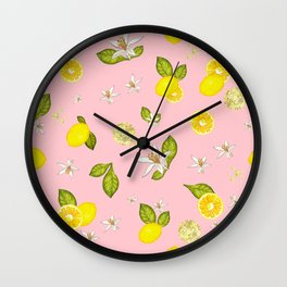 Lemon, lemon slice and leaves pattern pink background Wall Clock