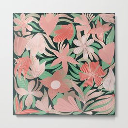 Rose Gold Coral Green Floral Leaves Illustrations Metal Print