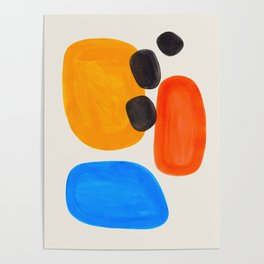 Minimalist Modern Mid Century Colorful Abstract Shapes Primary Colors Yellow Orange Blue Bubbles Poster