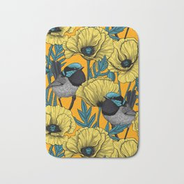 Fairy wren and poppies in yellow Bath Mat