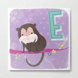 E is for Emperor Tamarin Metal Print