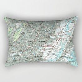 Newark NJ and Surrounding Areas Map (1986) Rectangular Pillow