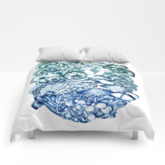 A Medley of Mushrooms in Blue Comforters
