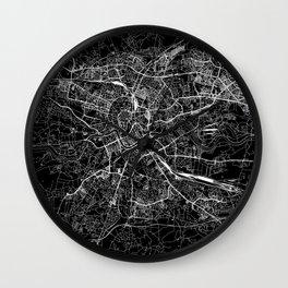 Krakow Black Map Wall Clock