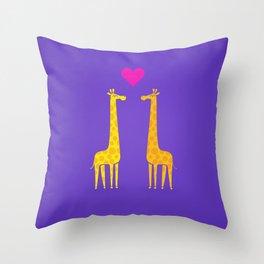 Cute cartoon giraffe couple in Love (Purple Edition) Throw Pillow